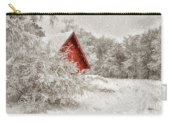 Red Shed In The Snow Carry-all Pouch
