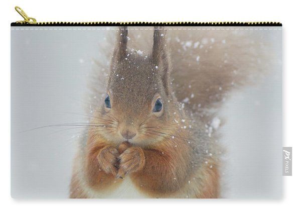 Red Squirrel With Snowflakes Carry-all Pouch