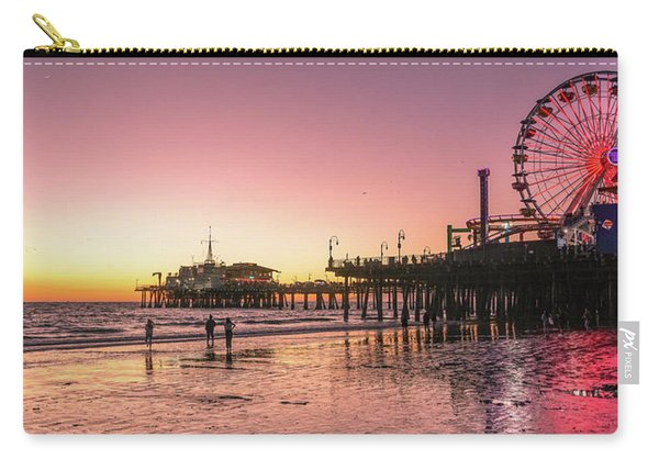 Carry-all Pouch featuring the photograph Red Sunset In Santa Monica by Michael Hope