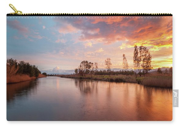 Red Sunset On The Pond Carry-all Pouch