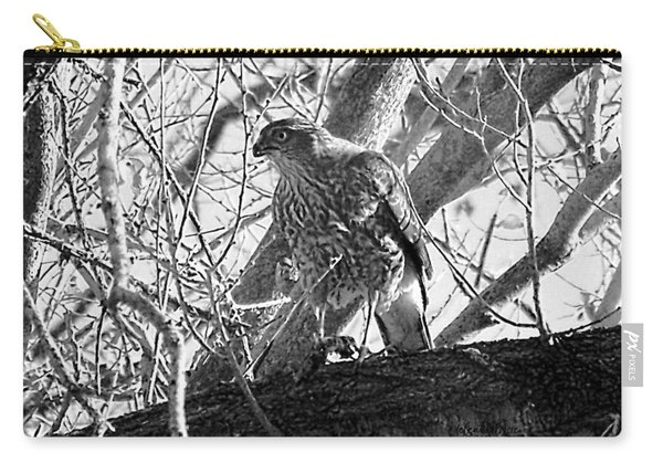 Red Tail Hawk In Black And White Carry-all Pouch
