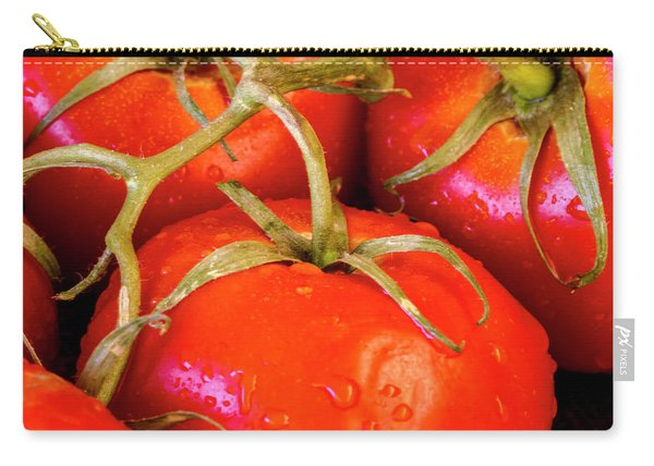 Red Tomatoes And Water Drops Carry-all Pouch