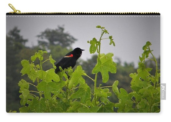 Red Winged Blackbird In The Rain Carry-all Pouch