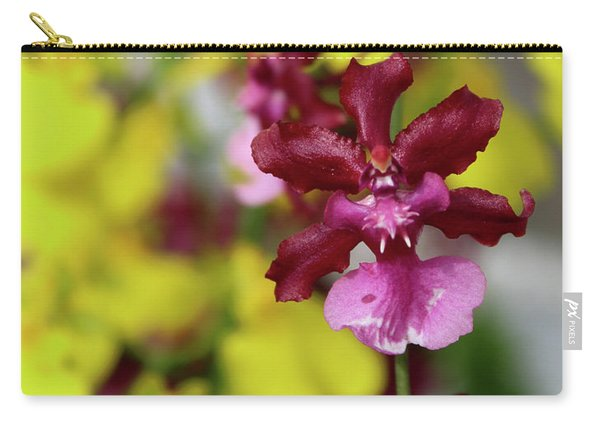 Maroon And Yellow Orchid Carry-all Pouch
