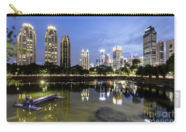 Reflection Of Jakarta Business District Skyline During Blue Hour Carry-all Pouch