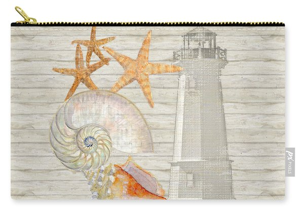 Refreshing Shores - Lighthouse Starfish Nautilus N Conch Over Driftwood Background Carry-all Pouch