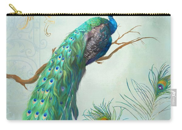 Regal Peacock 1 On Tree Branch W Feathers Gold Leaf Carry-all Pouch