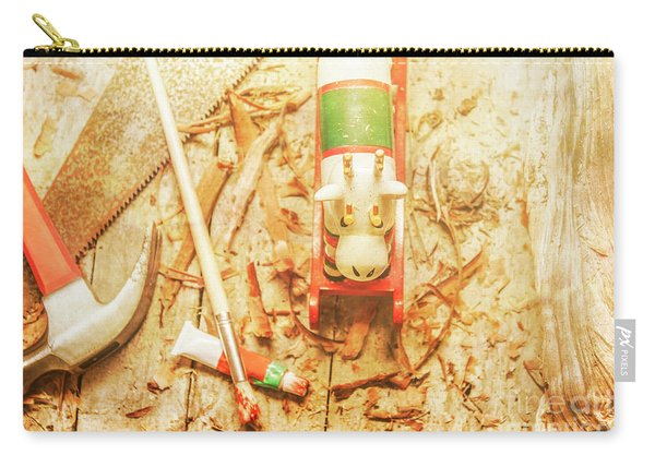 Reindeer With Tools And Wood Shavings Carry-all Pouch