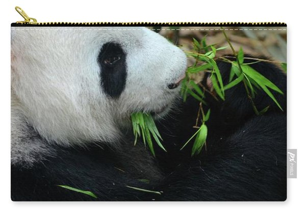 Relaxed Panda Bear Eats With Green Leaves In Mouth Carry-all Pouch