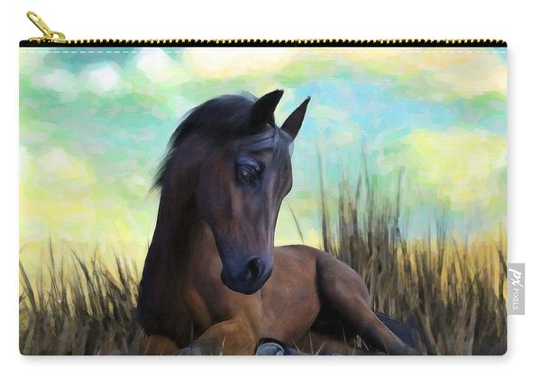 Carry-all Pouch featuring the painting Resting Foal by Sandra Bauser Digital Art