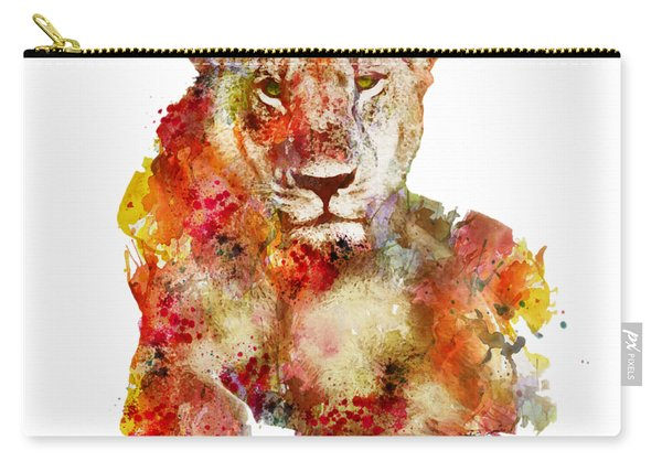 Resting Lioness In Watercolor Carry-all Pouch