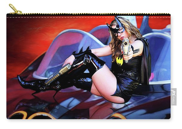 Retro Bat Woman On Car Carry-all Pouch