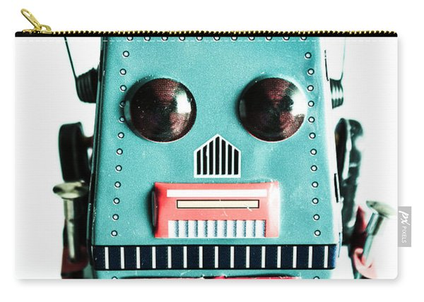 Retro Eighties Blue Robot Carry-all Pouch