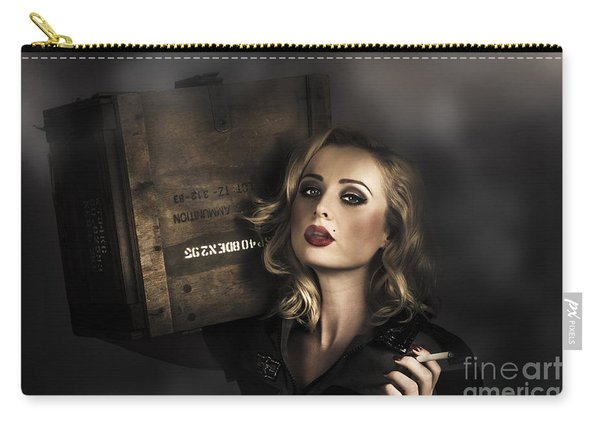 Retro Military Pinup Girl In Grunge Army Fashion Carry-all Pouch