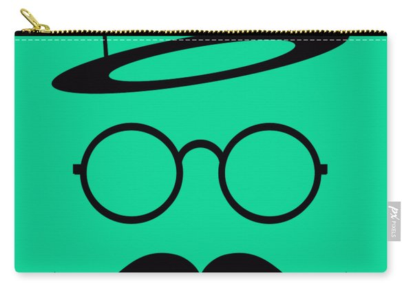 Retro Minimal Vintage Face With Moustache And Glasses Carry-all Pouch