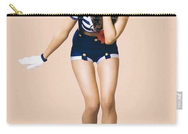 Retro Pinup Girl Blowing Travelling Departure Kiss Carry-all Pouch