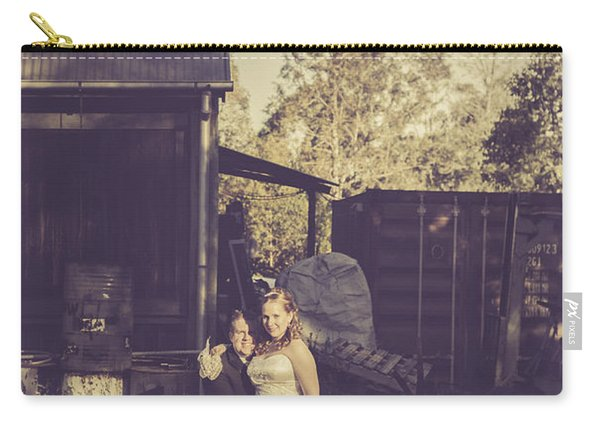 Retro Wedding Couple At Australian Farm Cottage Carry-all Pouch