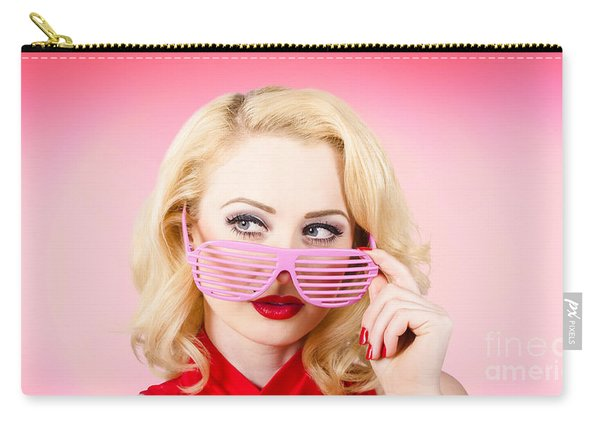 Retro Woman Model Wearing Summer Sun Glasses Carry-all Pouch