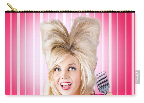 Retro Woman With Hairstyle Love. Heart Shape Hair Carry-all Pouch