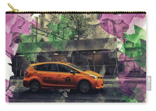 Retro Yellow Cab Print Carry-all Pouch