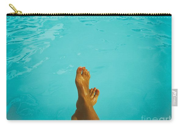 Retro Young Girl Relaxing Her Feet At Swimming Pool Carry-all Pouch