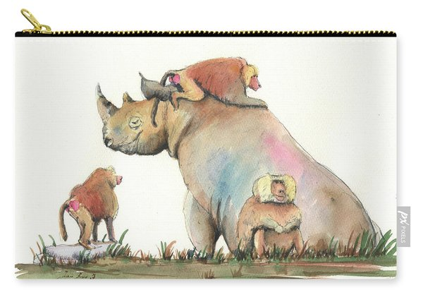 Rhino And Baboons Carry-all Pouch