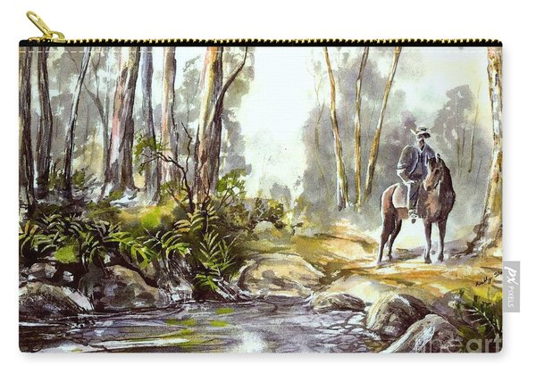 Carry-all Pouch featuring the painting Rider By The Creek by Ryn Shell