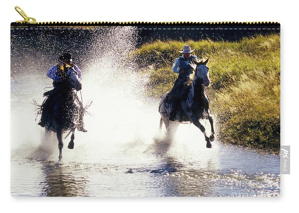 Riders In A Creek Carry-all Pouch