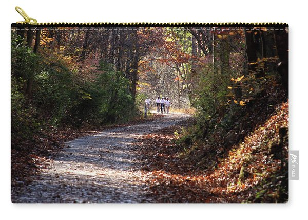 Riding Bikes On Park Trail In Autumn Carry-all Pouch