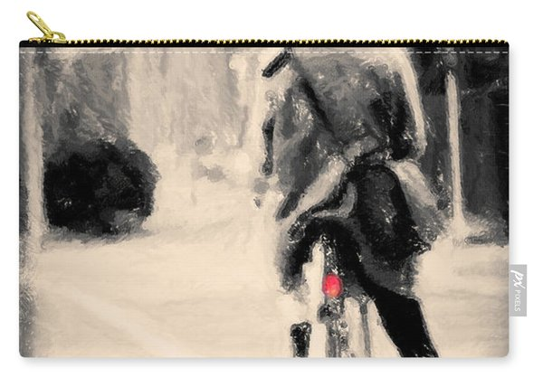 Riding My Bicycle In A Red Hat Carry-all Pouch