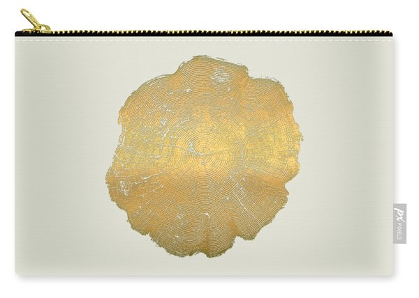 Rings Of A Tree Trunk Cross-section In Gold On Linen Beige Carry-all Pouch