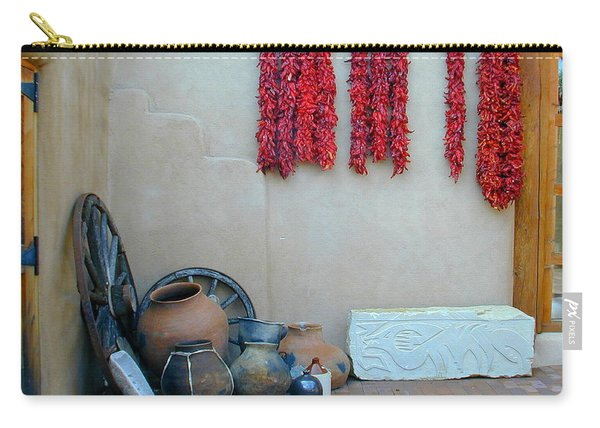Carry-all Pouch featuring the photograph Ristras And Pots by Joseph R Luciano