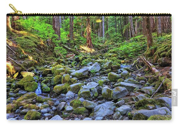 Riverbed Full Of Mossy Stones With Small Cascade Carry-all Pouch