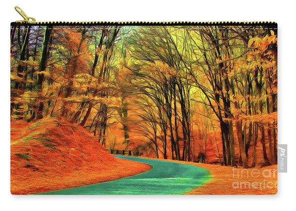 Road Leading Through The Autumn Woods Carry-all Pouch