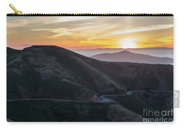 Road On The Edge Of The Mountain With Sunrise In The Background Carry-all Pouch