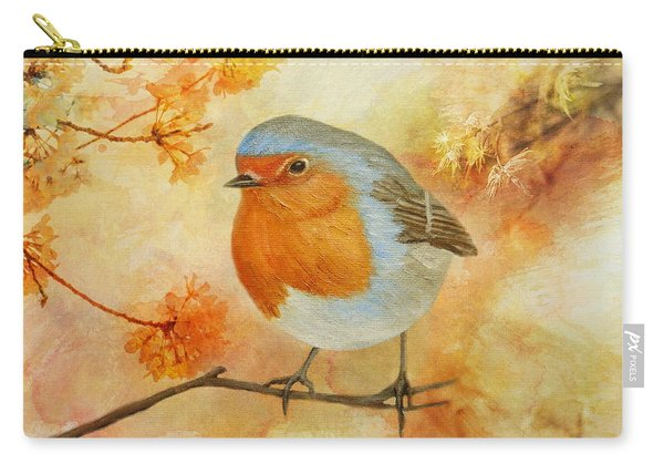 Carry-all Pouch featuring the painting Robin Among Flowers by Angeles M Pomata