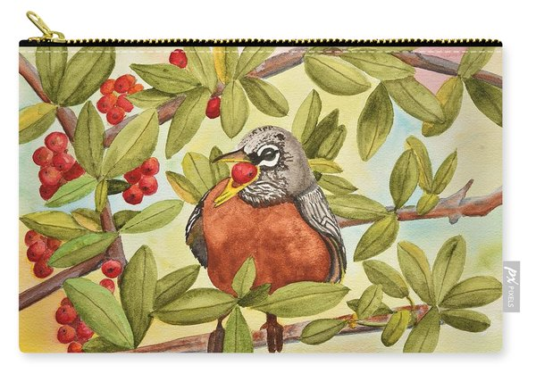 Robin Eating Berries Carry-all Pouch
