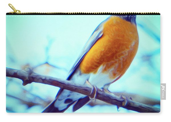 Robin Red Breast In Winter - Impressionism Carry-all Pouch