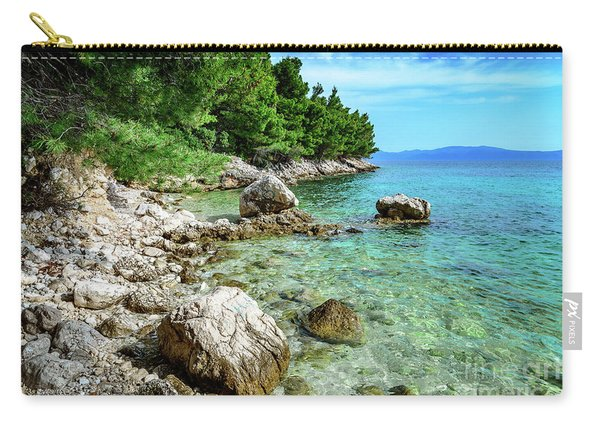 Rocky Beach On The Dalmatian Coast, Dalmatia, Croatia Carry-all Pouch