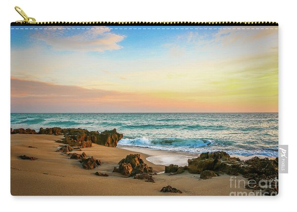 Carry-all Pouch featuring the photograph Rocky Beach by Tom Claud