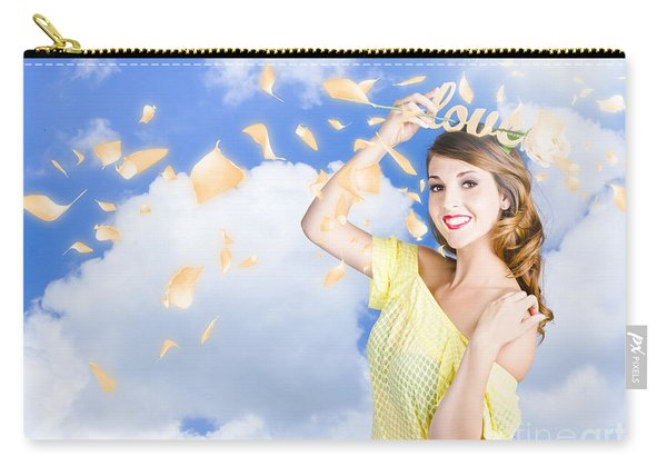 Romantic Woman Dreaming Of A Sky Filled Romance Carry-all Pouch
