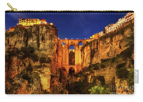 Carry-all Pouch featuring the photograph Ronda By Night by Benny Marty