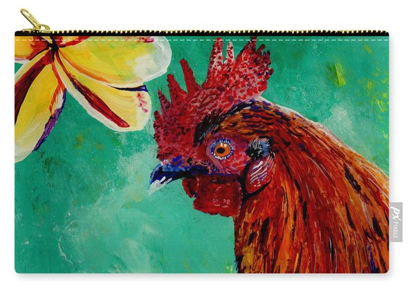 Rooster And Plumeria Carry-all Pouch