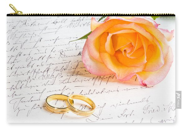 Rose And Two Rings Over Handwritten Letter Carry-all Pouch