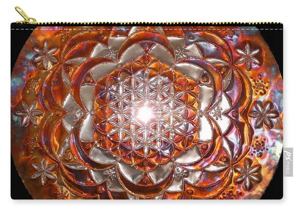Carry-all Pouch featuring the sculpture Rose Of Life Copper Lightmandala by Robert Thalmeier
