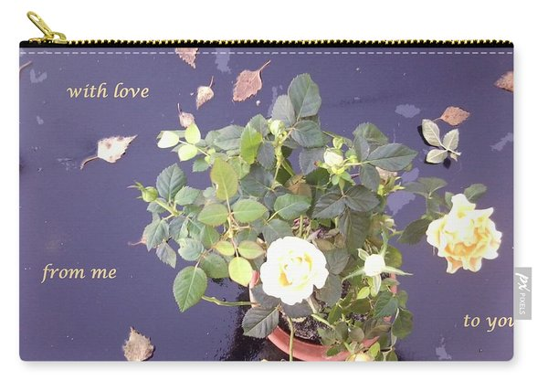 Rose On Glass Table With Loving Wishes Carry-all Pouch