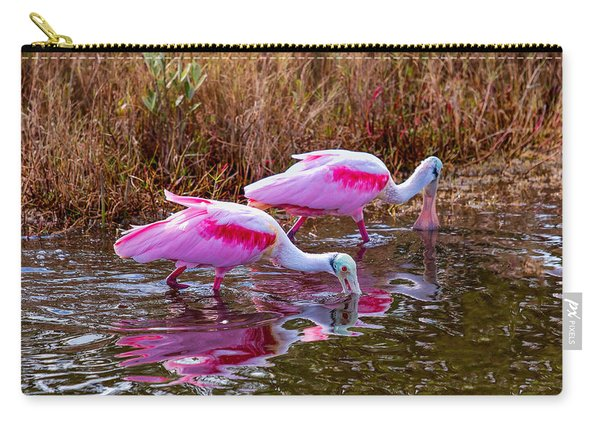 Roseate Spoonbills Swishing For Food Carry-all Pouch