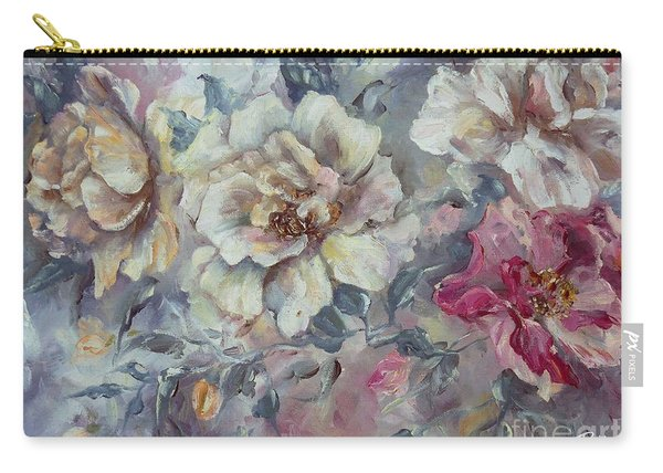 Carry-all Pouch featuring the painting Roses From A Friend by Ryn Shell