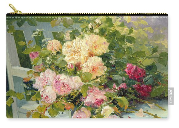 Roses On The Bench  Carry-all Pouch