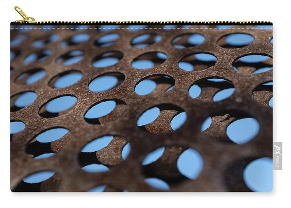 Rough Metal Abstract With Blue Holes In Green Bay Wisconsin Carry-all Pouch